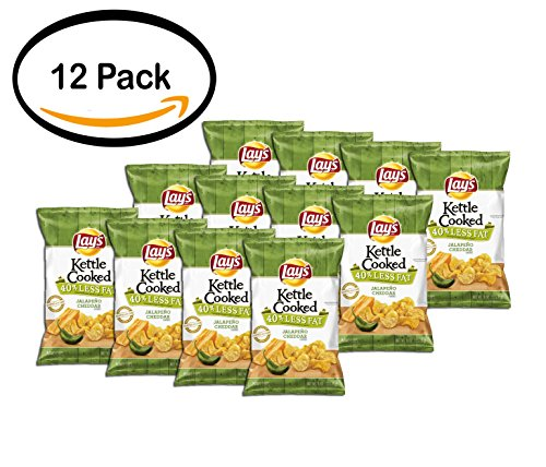 PACK OF 12 - Lay's Kettle Cooked 40% Less Fat Jalapeno Cheddar Potato Chips 8 oz. Bag by Lay's