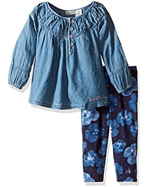 Baby Girls' Denim A Line Tunic with Leggings Set