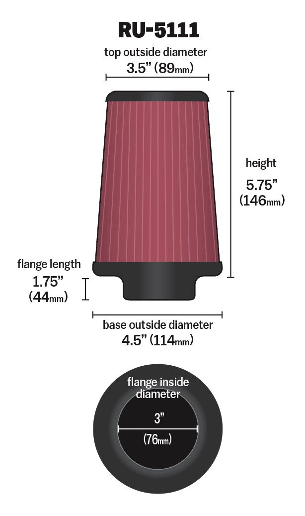 K&N RU-5111 Universal Clamp-On Air Filter: Round Tapered; 3 in (76 mm) Flange ID; 5.75 in (146 mm) Height; 4.5 in (114 mm) Base; 3.5 in (89 mm) Top