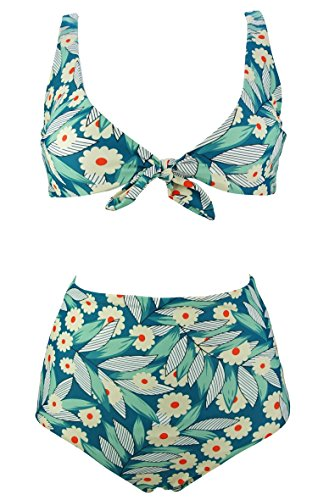 COCOSHIP Red Dot Floral & Green Leaves Retro Floral High Waisted Bikini Set Tie Front Top Concise Sporty Swimsuit 4(FBA) (Tie Front Retro)