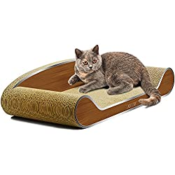 LAMBAW Cat Scratcher Couch Large Eco-friendly Corrugated Cardboard Scratching Pads Lounger Bed Kitty Playing Lounge Rest - Protect Furniture Keep Healthy Cat Claws - Metal Wood Grain