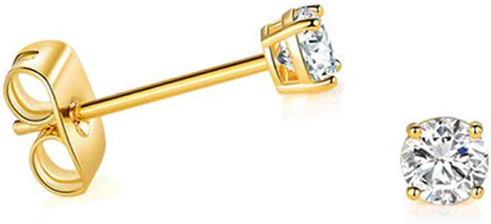 Solid 14k Yellow Gold Tiny Solitaire Small Round Cubic Zirconia CZ Stud Earrings (2.5mm)