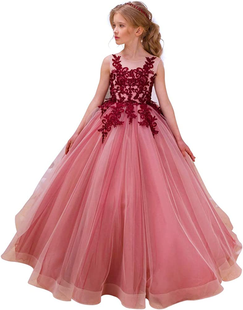 CQDY Flower Girl Lace Dresses Wedding Bridesmaid Flower Girl Dress Formal Party Pageant Prom Ball Gown Christmas Birthday Gifts