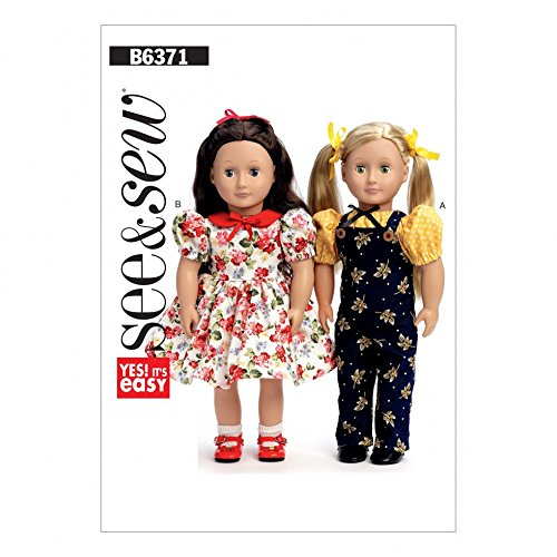 Butterick See & Sew Crafts Easy Sewing Pattern 6371 Puff Sleeve Top, Dress, Overalls & Petticoat Doll Clothes
