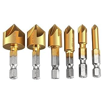6Pcs 90°Hex 5 Flute Countersink Drill Bit Set Counter Sink Chamfer Cutter 6-19mm