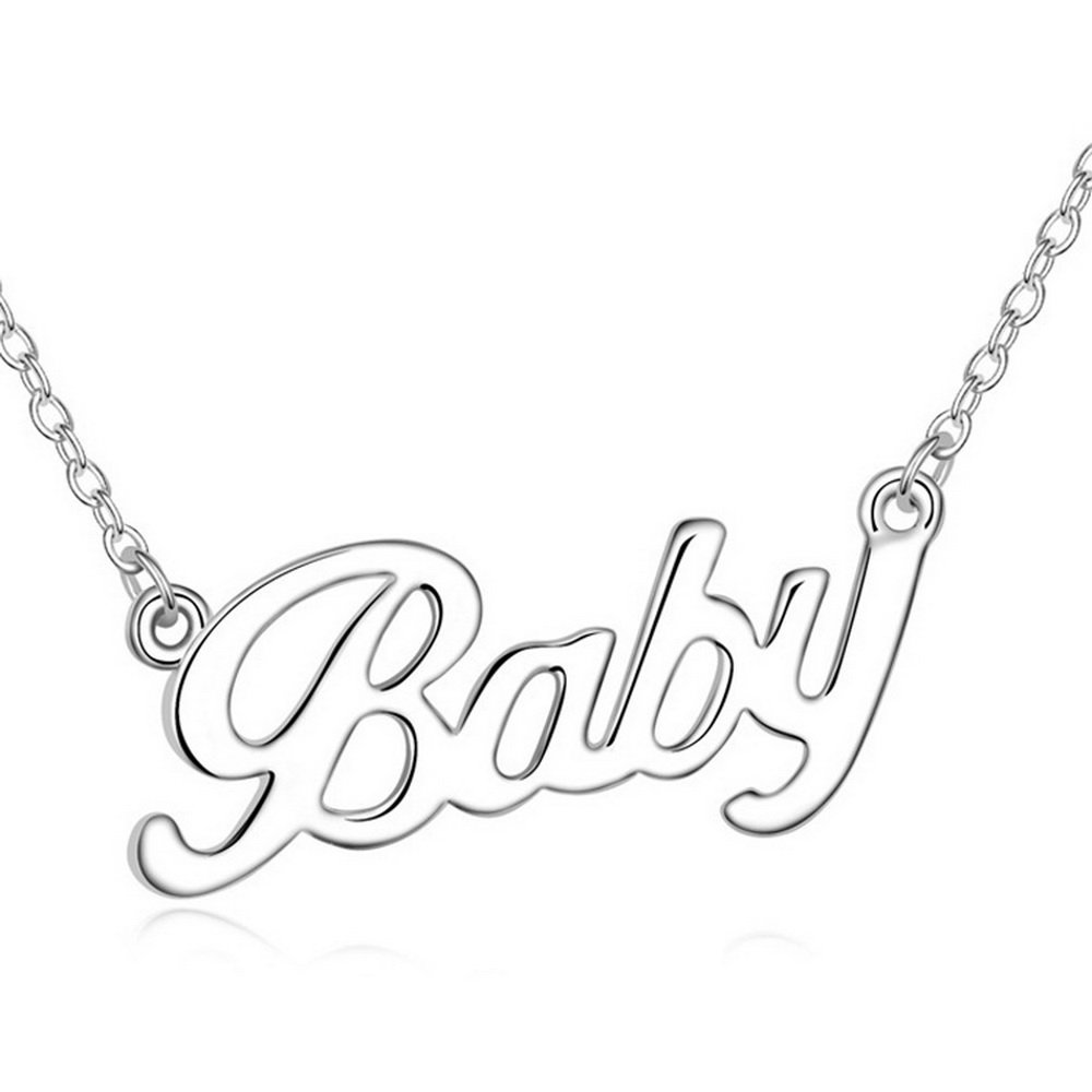 Alvdis Premium Letter Baby Shaped Clear Necklace Alloy Pendant - Elegant & Classy Design