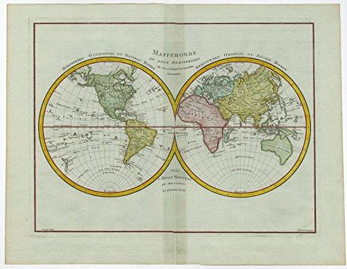 (Antique Print-WORLD MAP-DOUBLE HEMISPHERE-Mentelle-Tardieu-c. 1780)
