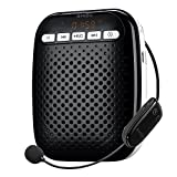 SHIDU S718 Wireless Voice Amplifier Ultralight Unique Portable Rechargeable with Comfortable Wireless Microphone for Teachers, Tour Guides Coaches, Presentations, Costumes, Etc.-Black