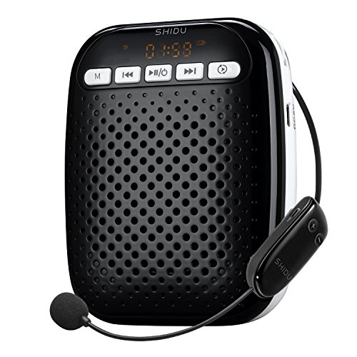 SHIDU S718 Wireless Voice Amplifier Ultralight Unique Portable Rechargeable with Comfortable Wireless Microphone for Teachers, Tour Guides Coaches, Presentations, Costumes, Etc.-Black by HQ Team