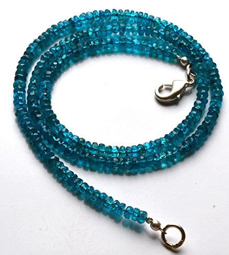 - 1 Strand Natural 16 inch Strand, Super Finest-Quality- Neon Blue Apatite Micro Faceted Rondelle Beads Necklace 3 MM