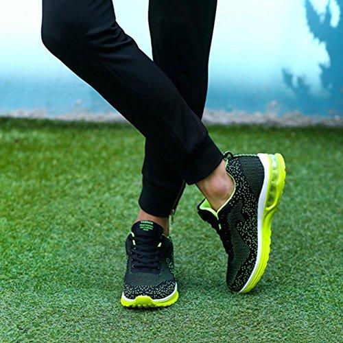 Maschile Autunno Scarpe Sportive Panno di Flyknit Pattini da Pallacanestro Cuscino d'aria antiurto maschio scarpa Scarpe da corsa , Green , 40
