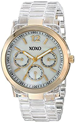 XOXO Women's XO5515 Clear Bracelet with Gold Case Watch