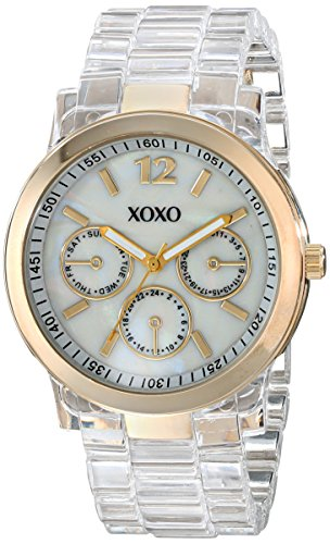 XOXO Women's XO5515 Clear Bracelet with Gold Case - Watch Clear Wrist