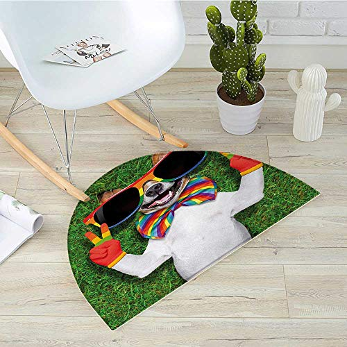 Pride Half Round Door mats Funny Face Gay Dog Lying on Green Grass with Peace Signs and Giant Sunglasses Humor Bathroom Mat H 51.1