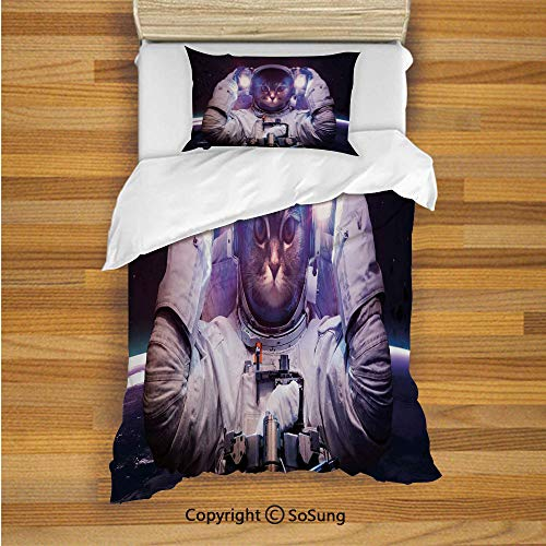 - Space Cat Kids Duvet Cover Set Twin Size, Kitty in Cosmonaut Suit in Galaxy Stars Supernova Design Image 2 Piece Bedding Set with 1 Pillow Sham,White Purple and Dark Blue