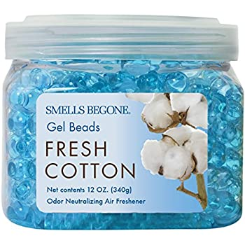 Smells Begone Odor Eliminator Gel Beads - Air Freshener - Eliminates Odor in Bathrooms, Cars, Boats, RVs and Pet Areas - Made with Natural Essential Oils - Fresh Cotton Scent (12 OZ)