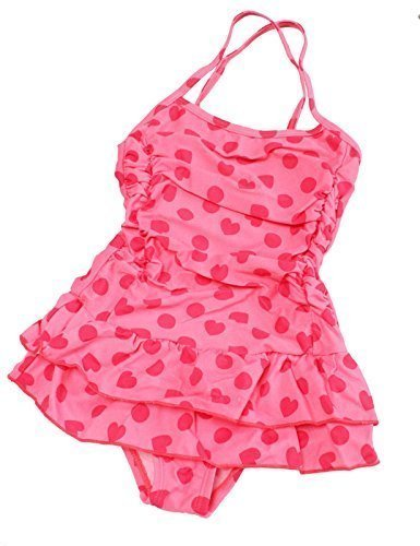 HYS Baby Girls' One Piece Polka Dot Love Swimming Costume M (1-2) (Colourful Girls Swimming Costumes)