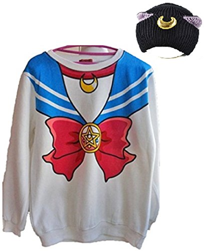 Fuji Sweater Print Top Sailor Moon Anime Cosplay Costume Cat Ears Cap