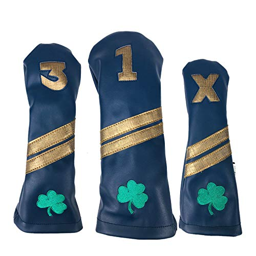 Sunfish Leather Golf Headcover Set 1-3-X Driver Fairway Hybrid Notre Dame Fighting Irish