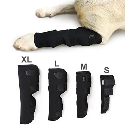 VANVENE Extra Supportive Dog Canine Rear Front Leg Hock Joint Wrap Protects Wounds Compression Brace Sleeve with Straps for Heals and Prevents Injuries and Sprains Helps Arthritis