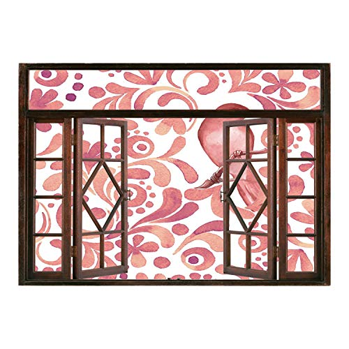 SCOCICI Window Frame Style Home Decor Art Removable Wall Sticker/Watercolor,Cute Bird on Tree Branch Floral Swirls Curves Little Dots Wildlife,Coral Dried Rose White/Wall Sticker Mural