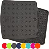 "Premium Silicone Trivet Mats / Hot Pads, Pot Holders, Spoon Rest, Jar Opener & Coasters - Our 5 in 1 Kitchen Tool is Heat Resistant to 442 °F, Thick & Flexible (7"" x 7"", Dark Gray, Set of 2)"