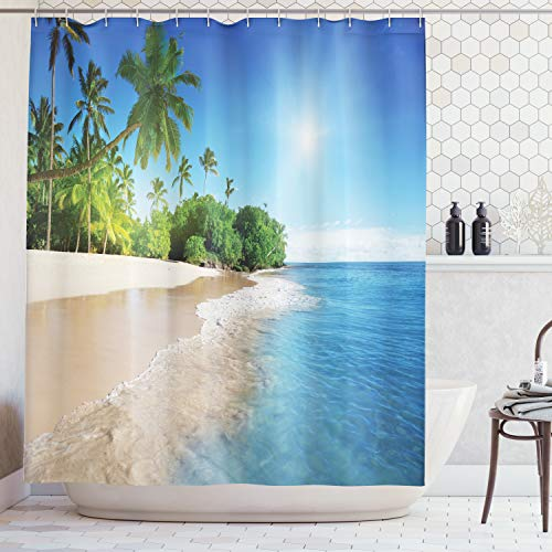 Ambesonne Blue Shower Curtain, Ocean Tropical Palm Trees on Sunny Island Beach Scene Panoramic View Picture, Cloth Fabric Bathroom Decor Set with Hooks, 84 Inches Extra Long, Blue Green White