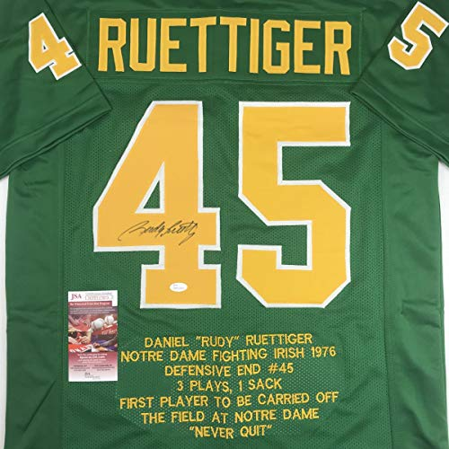 (Autographed/Signed Rudy Ruettiger Notre Dame Green Stat College Football Jersey JSA COA)