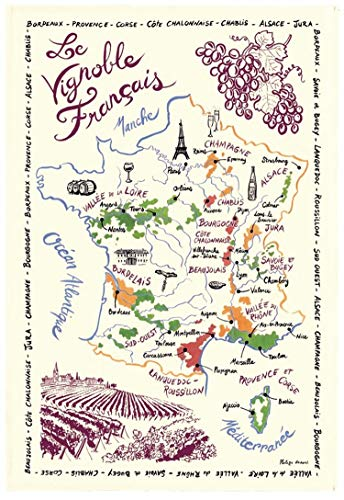 Wine France Region Map - French Wine Map Tea Towel by Torchons et Bouchons
