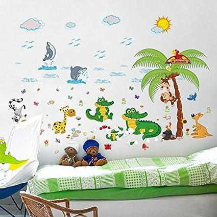 Funky Planet Bambini Adesivi Murali Adesivi Murali Camera Da Letto Arredamento Camera Dei Bambini Decorazione Della Parete Sala Giochi Xl Crocodiles Amazon It Casa E Cucina