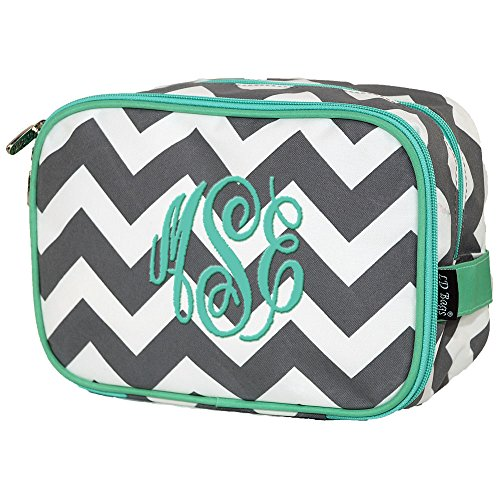 Personalized Gray Chevron Mint Trim Double Zip Two Compartment Cosmetic Makeup Bag