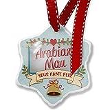 Add Your Own Custom Name, Arabian Mau, Cat Breed Arabian Peninsula Christmas Ornament NEONBLOND