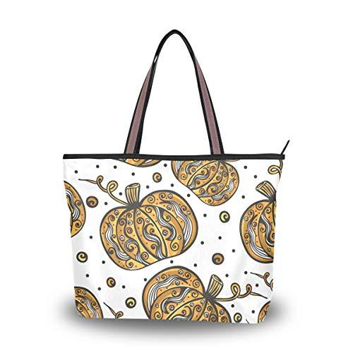 Tote Bag for Women Halloween Pumpkin Jack-O-Lantern Large Utility Shoulder Handbag Top Handle