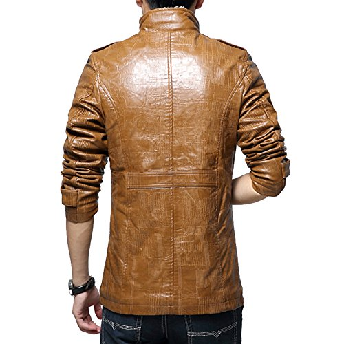 Highdas Plus 8XL Herren Jacken PU Motorrad Slim Fit Vintage Jackest Winter Warm Outwear Jacke Khaki XL