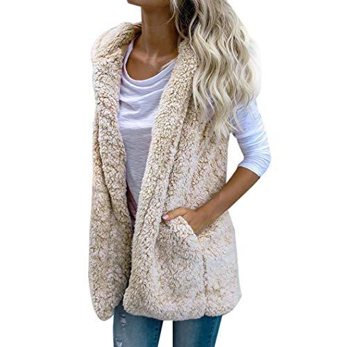Spbamboo Womens Vest Coat Winter Warm Hoodie Outwear Casual Faux Fur Zip Jacket by Spbamboo