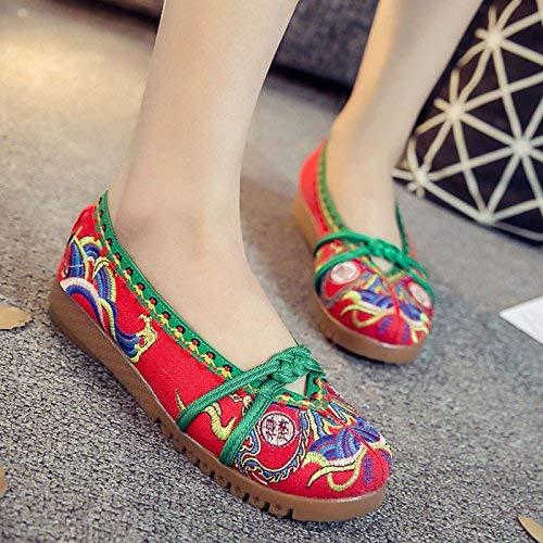 coloré Tissu Désinvolte Semelle Rouge Ethnique Confortable 37 Taille Féminin Style Brodées Tendon En Chaussures Mode TUaOqwY