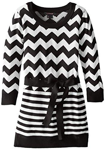 My Michelle Big Girls' Dress Chevron-To-Stripe Sweater Tunic