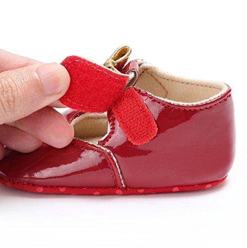 Primeros zapatos para caminar,Auxma Zapatos de Bowknot del bebé Zapatillas de deporte del niño Zapatos ocasionales de los zapatos de cuero suaves de los zapatos Rojo