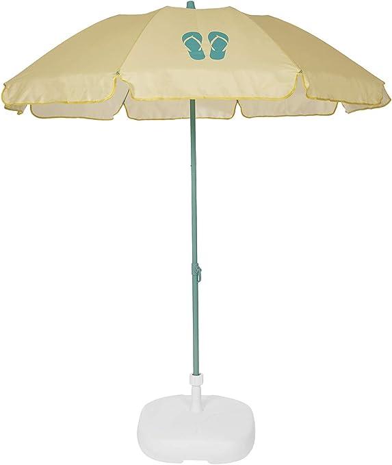Ezpeleta Sombrilla de Playa|Sombrilla terraza|Parasol Plegable|Protección Solar UPF 50+|Diámetro 155cm|Incluye Funda|Base no incluida|Barra de Colores|Tejido Estampado (Chanclas Amarillo): Amazon.es: Jardín