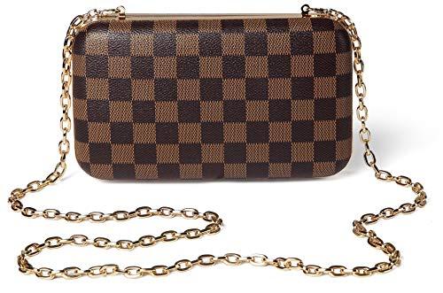 Daisy Rose Checkered Minaudiere Evening bag - RFID Blocking Cross body clutch -PU Vegan Leather (BROWN) ()