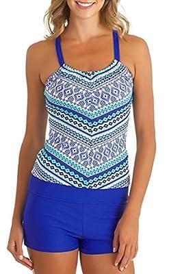 Upopby Women's Raceback Tankini Swimwear Top with Boyleg Set Bathing Suits Two Piece Swimsuits