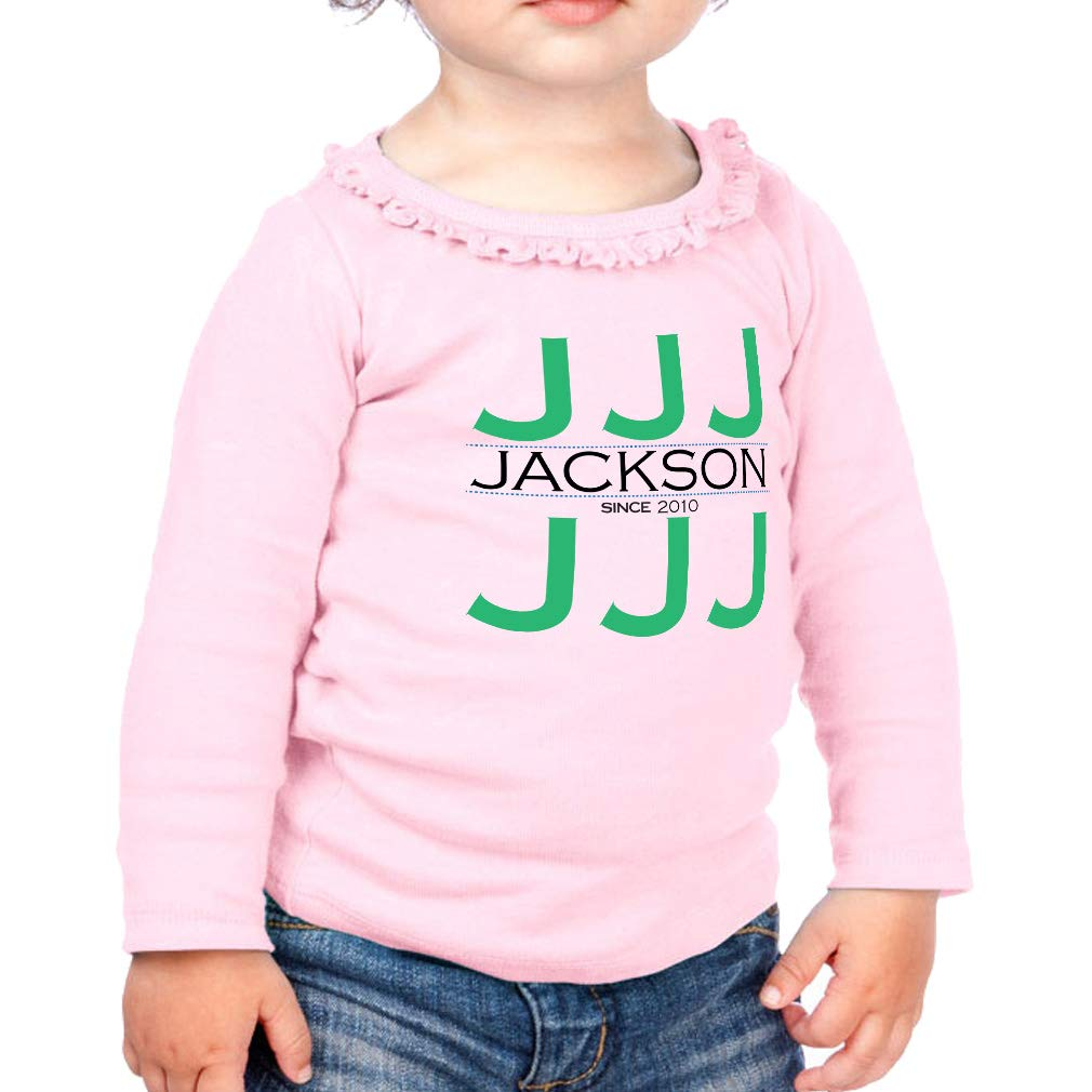 Personalized Custom Many Letters Cotton Toddler Long Sleeve Ruffle Shirt Top