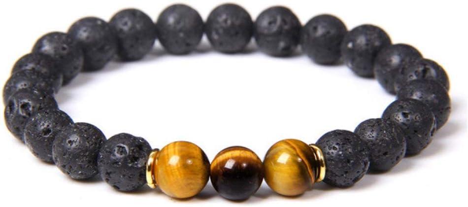 Pulsera de piedra natural, cuentas de ojo de tigre hechas a mano, 8 mm, piedra volcánica de lava negra, para mujeres, hombres, pulseras de yoga