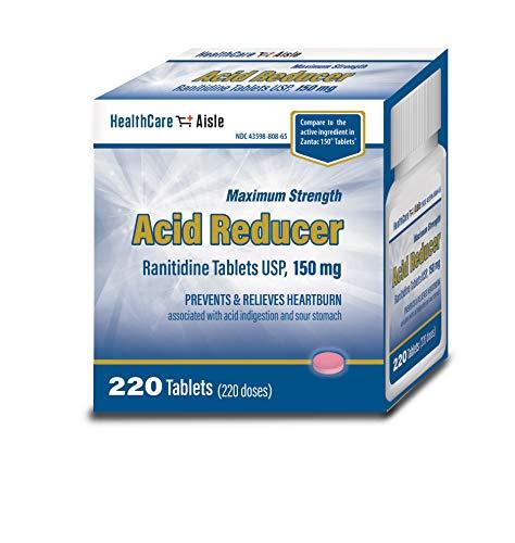 HealthCareAisle Maximum Strength Acid Reducer Ranitidine Tablets, USP | Prevents & Relieves Heartburn | 150 mg | 220 Count