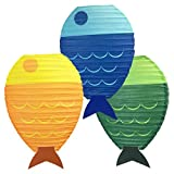 Just Artifacts 12inch Fish Shaped Hanging Paper Lanterns (Set of 3)