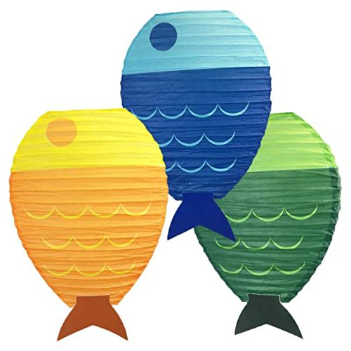 Just Artifacts 12inch Fish Shaped Hanging Paper Lanterns (Set of 3) -