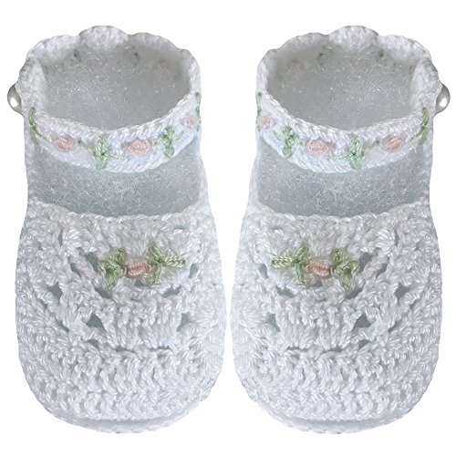 Country Kids Baby Girls Handmade Mary Jane Daisy Crochet Crib Shoe Bootie with Pearl Button Fasten, 1 Pair Gift Set