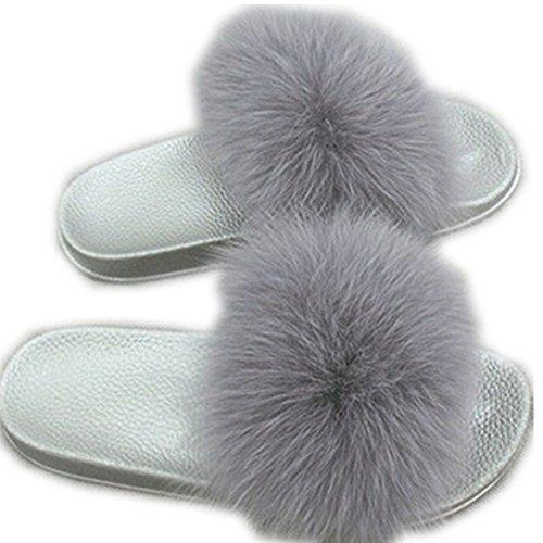 Real Grey Women Flat Silver qmfur Slippers Soft Slides Fox Fashion Shoes Girls for Fur Summer 5UaR6na