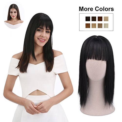 REECHO Clip in Bangs with Scalp Synthetic Straight Hair Extensions Hair Closure Piece Hairpieces 3 Clips in for Women - Black