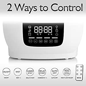 Humidifier, BESTEK Cool Mist Humidifiers for Bedroom Ultrasonic Air Purifier for Home with Digital Touch Panel and Remote Control, 5.8L/1.53Gallon